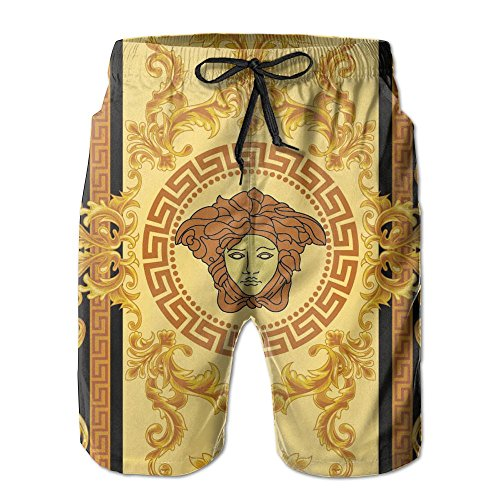 Men's Retro Greek Gold Vintage Summer Boardshorts Drawstring Soft Shorts
