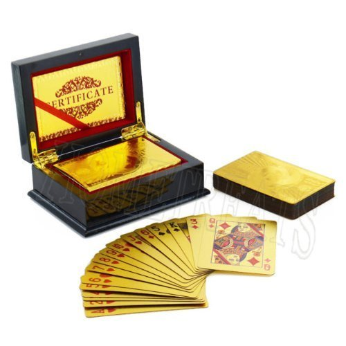 Playing Card Deck with 99.9% Pure Gold Foil (GOLD PACK WITH BOX) by RoyaltyLane: Amazon.es: Juguetes y juegos