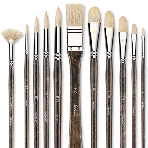 Professional Oil Paint Brush Set, Fuumuui 11pcs Superior Geniune Hog Bristle Paint Brushes Perfect for Oil Acrylic Painting