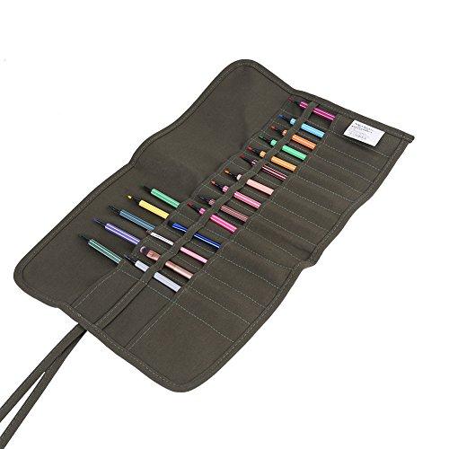 30 agujeros bolsa de pincel de pintura enrollable lienzo acuarela pinceles al óleo estuche portátil artista pintura almacenamiento pluma bolsa