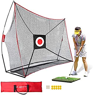Keenstone 10x7ft Golf Net Bundle Golf Practice Net for Indoor and Outdoor Backyard Hitting Driving and Chipping Practice with Tri Turf Hitting Mat, Target and Carry Bag
