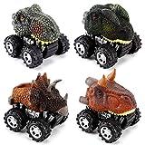 NASHRIO Zurückziehen Dinosaurier Autos Spielzeug Set von 4, Dino Spielzeug für 3 Jahre alten Jungen und Mädchen, beliebtes Geschenk für Kinder