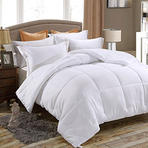 FLCA All-Season Extra Soft Luxurious Classic Light-Warmth Goose Down-Alternative Comforter (White, Full/Queen)