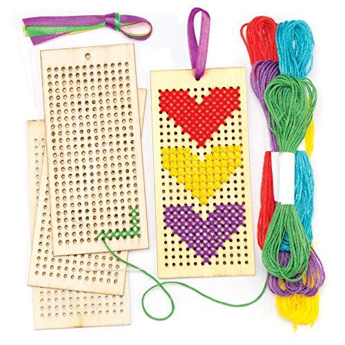 Baker Ross Holzlesezeichen-Bastelsets mit Kreuzstich für Kinder zum Nähen und Gestalten (4 Stück)