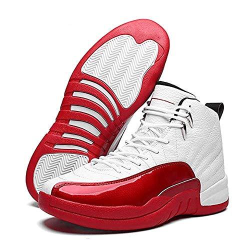 HaoLin Zapatos De Baloncesto Casuales Altos Antideslizantes para Hombres Zapatillas Deportivas Al Aire Libre Absorción De Golpes Ligero,Red-40EU