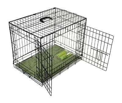 Bunny Business Metal caja de perro y de cama de 2puertas con pelusa rodillos, color negro