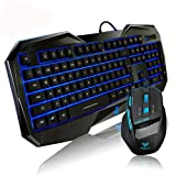 aula LED blu illuminato tastiera retroilluminata Multimedia Gaming Mouse Plus kit
