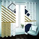 YUNSW Geometrische Bronzing Graffiti Schatten Vorhänge, Garten Wohnzimmer Schlafzimmer Küche Schallschutzvorhänge, Perforierte Zweiteilige Vorhänge - 3