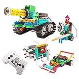 FlyCreat ブロックおもちゃ 積み木 4IN1変形ロボット 237ピース 電動おもちゃ タンク仕様 立体パズル 四轮駆动おもちゃ 電動組立てロボットキット ロボットカー ラジコンカー バトルタンク戦車 ミニ四駆 騎士 組み立て式 DIY 3Dモデル 科学のおもちゃ 男の子のおもちゃ バッテリーモーターが