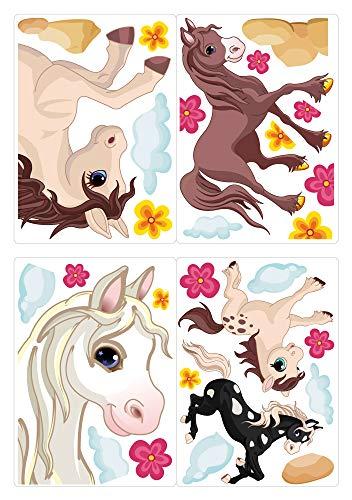 dekodino® Fenstersticker Kinderzimmer Pferde mit Blumen