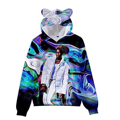 De.Pommeyeux Slime Language 2 Cat Ear Hoodie Hip Hop Sudaderas Casual Sudaderas Chica Mujeres 3D Pullover (KA06587,L,)