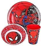 Servizio Da Tavola per Bambini in melammina - 3 Pezzi Con Piatto, Ciotola E Bicchiere - Senza BPA Spiderman Urban Web