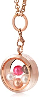 CAPTTE High-Capacity Pearl Cage Pendant Necklace - 30mm Pearl Floating Locket Necklace, Stainless Steel Glass Pearl Jewelry with 5 PCS Round Pearls Inside (7-8mm)