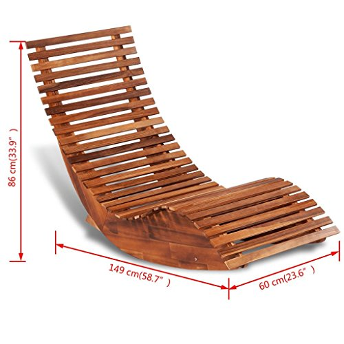 Festnight Tumbona Mecedora de Madera Diseño Ergonómico 149 x 60 x 86 cm