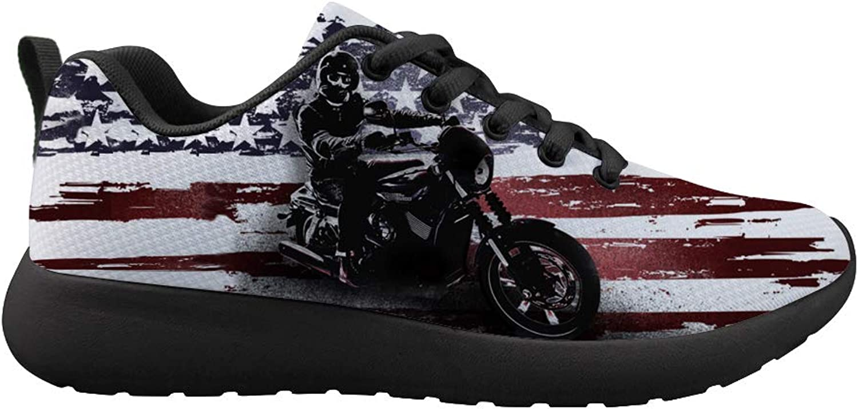 Owaheson Cushioning Sneaker Trail Running shoes Mens Womens American Flag Rider Hero