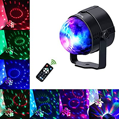 Glückluz LED Party Lights DJ Lighting Sound Activated Disco Magic Ball Strobe Lights Birthday Parties Remote Control Stage Bar Lights for Home Parties Xmas Wedding Show (UK 3 Pin Plug) (Black)