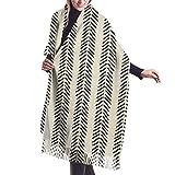 Yuanmeiju Paño de barro blanco y negro puntas de flecha chal abrigo invierno cálido bufanda capa bufanda grande bufandas de gran tamaño para mujeres
