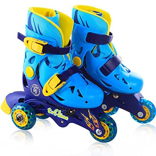 JAJAHOHO Roller Skates for Girls, Adjustable Convertible 2-in-1 Skates, Junior Size 6 7 8 9, Tri-Wheels to Inline Skates 3 Wheels, Roller Blades for Kids Boys Toddler Outdoor (Blue, Junior Size 6-9)