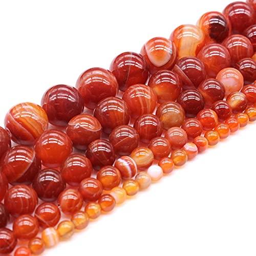 ZLDDE Cuentas de Piedra Piedra Natural Rayas Rojas Agates Beads para joyería Fabricación de Bricolaje Collar de Pulsera 4/6/8/10/12/14 mm Strand Unisexo