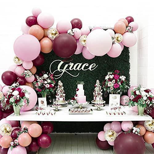 Kit Guirnalda Globos,114 Cumpleaños Globos Decoracion Rosa Borgoña Confeti de Oro Látex Globos para Baby Shower,Fiesta Suministros,Bodas,Decoracion Cumpleaños, Mujer