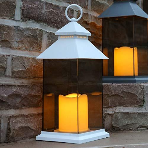 Festive Lights batteriebetriebene Außen/Innen Laterne mit rahmenloser Verglasung und Kerze mit täuschend echt wirkenden Flackereffekt, (Weiß, H 31cm)