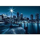 Vlies Fototapete PREMIUM PLUS Wand Foto Tapete Wand Bild Vliestapete - Laterne Nacht New York Skyline Lichter Fluss - no. 856, Größe:350x245cm Vlies
