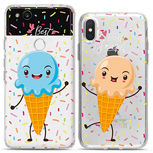 Cavka TPU Matching Couple Cases for Google Pixel 4 XL 3 XL 3a XL 2 XL New Cover 2019 Best Friends Flexible Funny Ice-Cream Silicone Pair Cover Clear BFF Love Soul Girly Women Cute Print Mate Kids