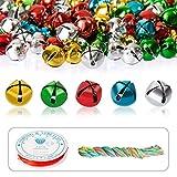 Naler 300 Cascabeles Manualidades Pequeños Cascabeles de Colores Campanas para Decoración Navidad Regalo(10mm)