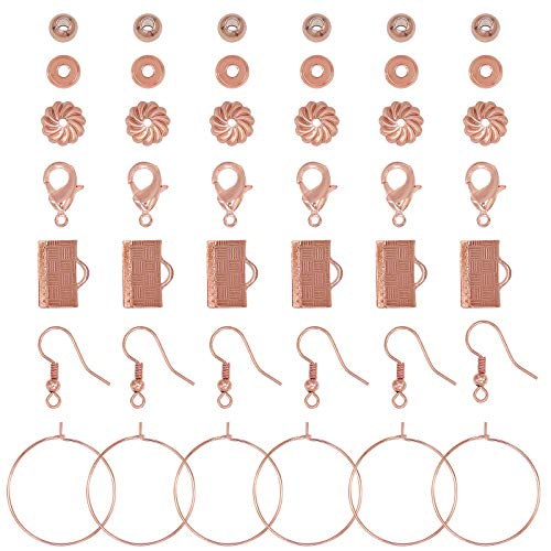 NBEADS 240 Pcs DIY Jewelry Making Sets, Rose Gold Jewelry Making Kits Jewelry Necklace Earring Findings for DIY Craft Jewelry Making