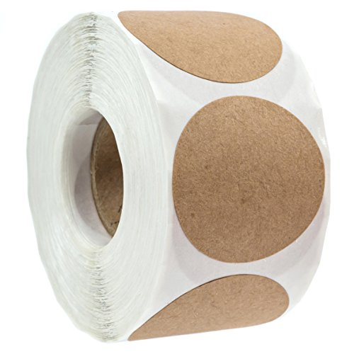 "1.5"" Natural Brown Kraft Stickers/500 Labels per Roll/Permanent Adhesive"