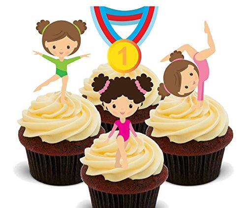 Decoración comestible para tartas de gimnastas con medallas, gimnasia, decoración para cupcakes, Impreso comestible, 12 unidades
