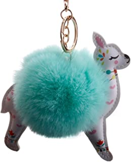 Lovely Sika Deer Pom Pom Ball Key Chain Key Ring Keyring Keyfob Handbag Pendant Keychain Charm Mint Green Superior窶2uality...