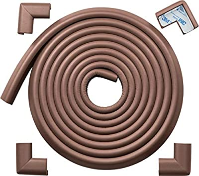 Roving Cove Edge Protector and Corner Protector, Furniture Bumper Guard, Fireplace Baby Proofing, 3M Pre-Taped Corners, 16.2 ft (15 ft Edge + 4 Corners), Coffee Brown, Heavy-Duty