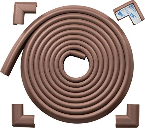 Roving Cove Table Corner and Edge Protectors (15ft Edge + 4 Corners), Heavy-Duty, Soft NBR Rubber Foam, Baby Proofing Furniture and Fireplace, 3M Pre-Taped Corners, Coffee Brown