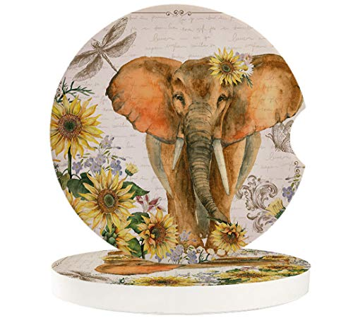 Elephant and Sunflowers Car Cup Holder Coasters Set of 4, Retro Newspaper Absorbent Ceramic Stone Drink Coaster with A Finger Notch for Easy Removal of Auto Cupholder