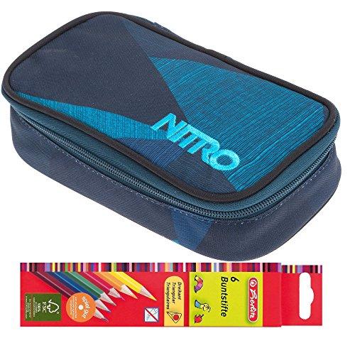 Set: Nitro Mäppchen Pencil CASE XL Federmäppchen große Etuibox + 6 Stifte (Fragments Blue 1945)