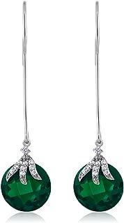 925 Sterling Silver Long Dangle Drop Earrings For Women (12MM)