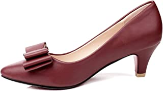 sorliva Women's Comfortable Classic Office Low Kitten Heel Pump Pointed Close Toe Bowknot Dress Mid Heeled Pumps Shoes