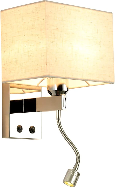 MEIEI E27 Stoff Wandleuchte, Moderne Minimalistische Wandleuchte Nachttischlampe LED Leselampe Wandleuchte Hotel Room Engineering Lampe Auenhandel Edelstahl Wandleuchte (Farbe   C)