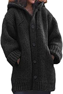 Womens Button Up Hood Sweaters Long-Sleeves Knit Cardigan Cable Outwear