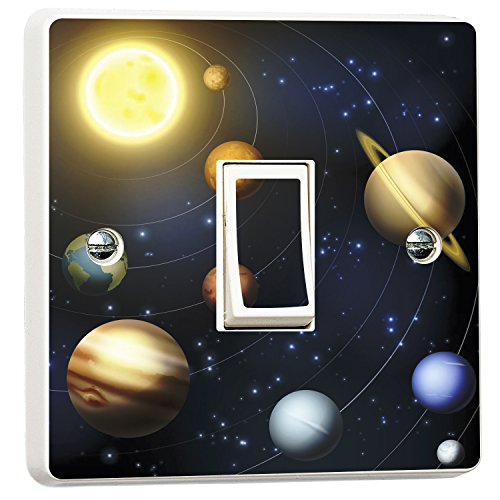WALL ART DESIRE Planets Solar System Light Switch Sticker Vinyl Skin