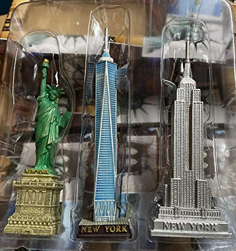 Monkey King MK Set of 3 NYC Statue of Liberty, Empire State Building and Freedom Tower Statue Figures Collection Souvenirs (5 Inches Tall)