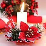Bibivisa 3X Weihnachten Kerzenhalter, Bereift Tannen Kerzenständer Dekoration Weihnachtsstern Glitzer, Christmas Kerzenlicht Weihnachtskerze Stehen für Weihnachten Tischdeko Advent Deko - 2