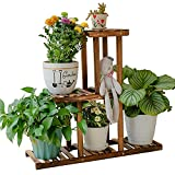 BITLIFUN 3 Tier Wood Plant Stand Indoor Outdoor,Large Multi Tiered Flower Pots, Wooden Plant Display Holder Rack for Living Room Corner Balcony Office Lawn Patio - 3 Tier