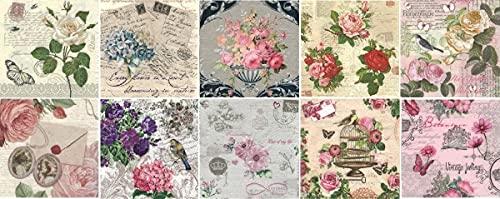 Zita's Creative Servietten Set mit Decoupage-Kleber - Vintage Flowers. Decoupage, Serviettentechnik,