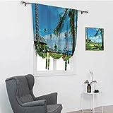 Colección Hamaca de playa Decor Persianas para ventana, hamaca entre palmeras, luna de miel, resort de vacaciones, cortinas oscuras, verde y azul mostaza, 88,9 x 162,6 cm