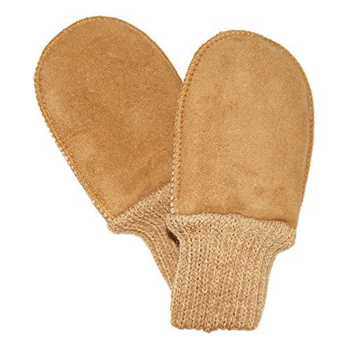 Naturfell Baby Lammfell-Handschuhe mit Strickbund, Gr. 1