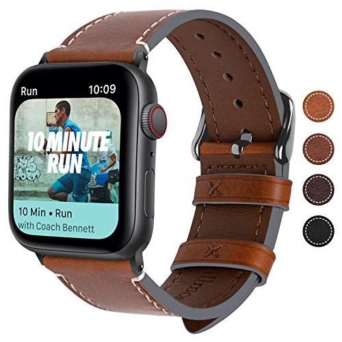 Fullmosa Kompatibel Apple Watch Armband 40mm/38mm, Vintage Leder Band für Apple Watch Series SE/6/5/4/3/2/1, Nike+, iWatch Ersatzband,Dunkelbraun + Dunkelgrau Schnlle 40mm