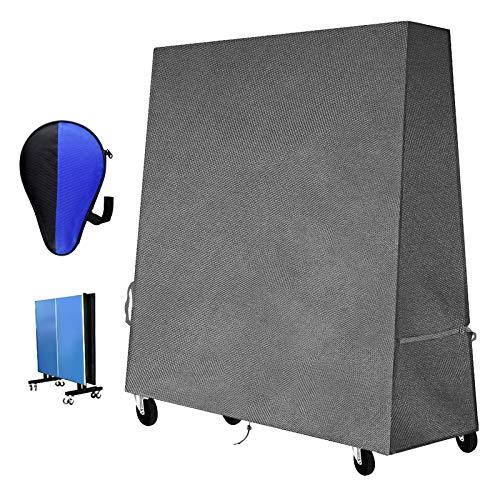 Funda para Mesa de Ping Pong, Exterior Mesa Tenis Cubierta Impermeable, Resistente al Viento, Anti-UV, Tela Cubierta de Mesa de Gardín Resistente (165 x 70 x 185 cm) (420D Tissu Oxford Robuste