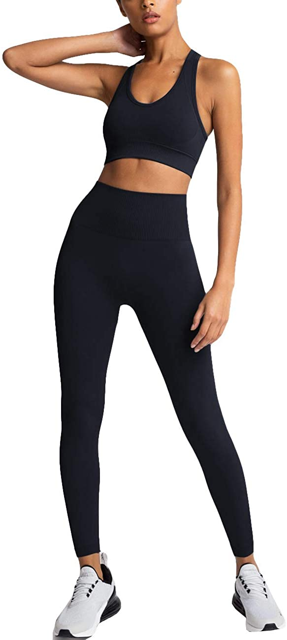 HAODIAN Women's Yoga Outfits 2 Piece High Waisted Leggings with Sports Bra Gym Clothes Sets at  Women's Clothing store